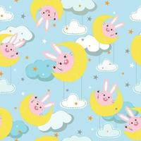 Cute rabbit in halfmoon with ornament seamless pattern vector