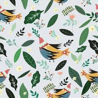 beautiful bird with green leaf and flower seamless pattern vector