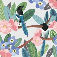 A couple bird in botanical tropical forest vector