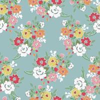 Sweet flower bouquet seamless pattern vector