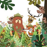 Cute animal in botanical tropical forest vector