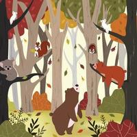 Cute animal in autumn forest vector