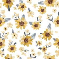 Water color yellow flower and blue leaf seamless pattern vector