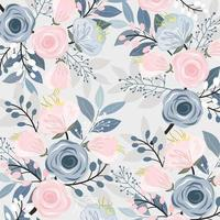 Pink and blue floral with leaf pattern vector