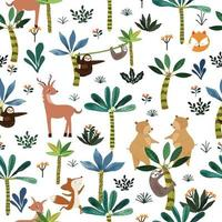 Cute animal in botnical tropical forest seamless pattern vector