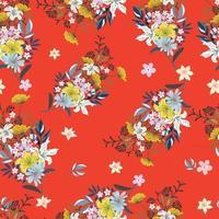 Bouquet flower on red background seamess pattern vector