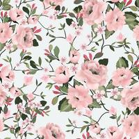 Sweet pink flower and green leaf seamless pattern vector