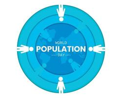 World Population Day Circle Paper Template vector