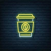 Disposable Coffee Neon Sign vector