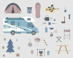 Camping and hiking elements set collection for local vacation Vector illustration in flat style