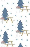 Seamless vector pattern with barbeque wooden table bench leaves and fir tree on a white background Perfect for wallpaper wrapping paper textile or fabric