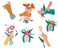 Collection of hands holding bouquets or bunches of blooming flowers Bundle of floral decorative design elements Colorful rainbows with flowers Romantic present Vector  illustration