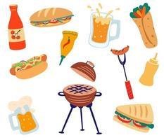 conjunto con barbacoa y comida rápida sándwiches a la parrilla hamburguesas salchichas salsas hot dog y cerveza fogata y comida de la naturaleza fiestas de barbacoa ilustraciones vectoriales planas vector