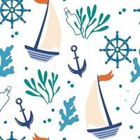 Seamless pattern with ships anchors and seaweed Background with marine elements Cute texture for kids room design Wallpaper textiles wrapping paper apparel Vector cartoon flat illustration