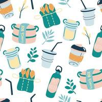 Seamless pattern with reusable products Eco friendly wallpaper concept with recyclable and reusable products Backdrop with zero waste lifestyle elements No plastic Vector flat background