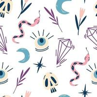 Magic witch seamless drawing Skulls snakes eyes crystals and leaves Mystical and Mysterious objects Symbol of witchcraft for Halloween Decorative texture for fabric wallpaper Vector background