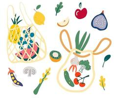 Net bag with food Set of Trendy eco shopper with fruits vegetables Reusable textile shopping bags Local market concept Zero waste plastic free eco life Vector cartoon flat illustration
