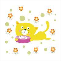 Cute Cat Activity Flat Cartoon Character Vector Template Design Illustration