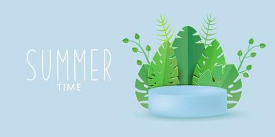 Trendy podium for summer with tropical leaves Background vector
