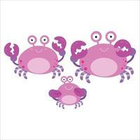 Ilustración de diseño de plantilla de vector de personaje de dibujos animados plano animal de familia de cangrejo lindo