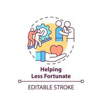 Helping less fortunate concept icon vector