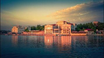 Cinemagraph of the sea landscape with a view of the architecture of Sevastopol Crimea video