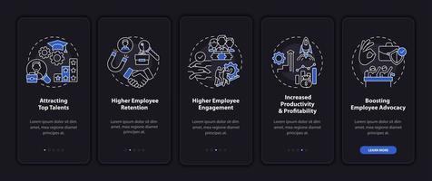 Filosofía corporativa incorporación de la pantalla de la página de la aplicación móvil con conceptos vector