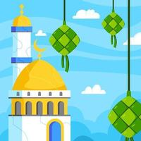 Eid Mubarak with Ketupat and Mosque Background vector