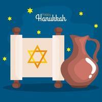 Happy hanukkah torah and oil pitcher vector design