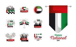 Uae national day set icons vector design