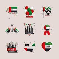 Uae national day icon collection vector design