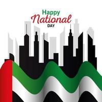 Uae national day with flag and city vector design