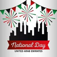 Uae national day with city buildings and banner pennant vector design