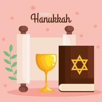 Happy hanukkah torah and cup vector design