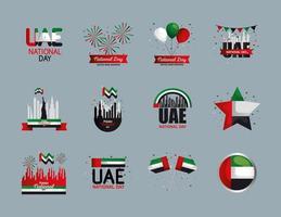 Uae national day symbol set vector design