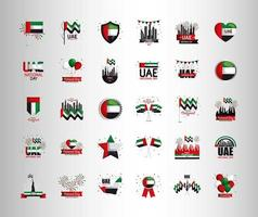 Uae national day set of icons vector design