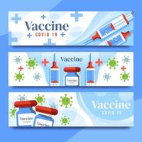 Covid 19 Vaccine and Syringe Banners vector