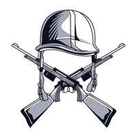 helmet and rifles vector