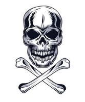 skull with bones vector