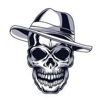cabeza de cráneo de gángster vector