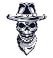 cabeza de cráneo de vaquero vector