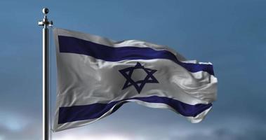 agitando a bandeira de israel em câmera lenta video
