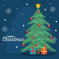 merry christmas pine tree with gifts and snowflakes vector design