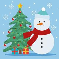 merry christmas pine tree with gifts and snowman vector design