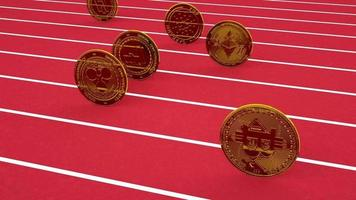 crypto currency coins competing on a race track looping animation video