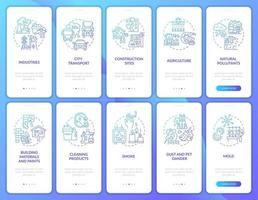 contaminantes del aire incorporando la pantalla de la página de la aplicación móvil con el conjunto de conceptos vector