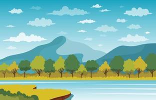 lago y bosque paisaje de montaña vector