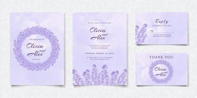 tarjeta de invitación de boda floral púrpura acuarela vector