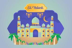 Eid Mubarak Mosque illustration vector