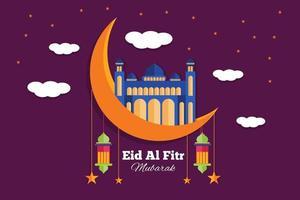 Flat eid al fitr illustration background vector